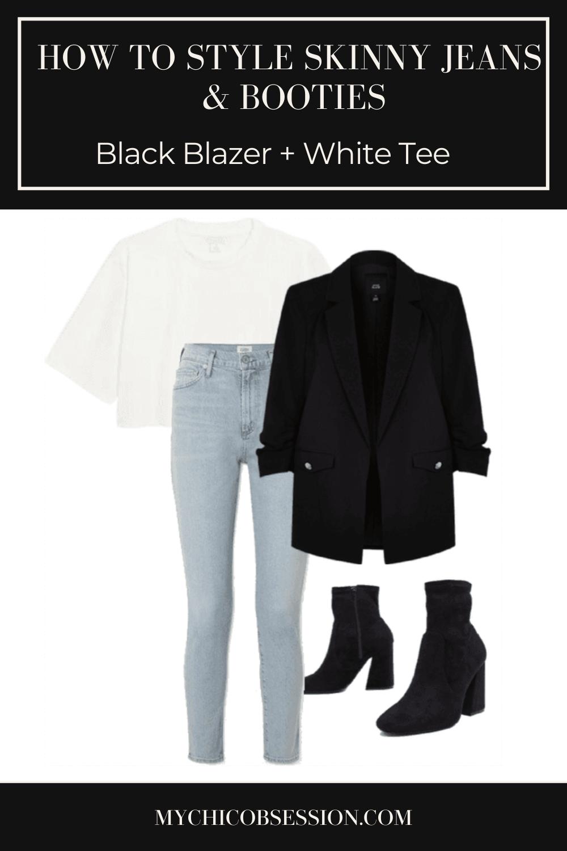 Black blazer, black sock booties and light wash jeans
