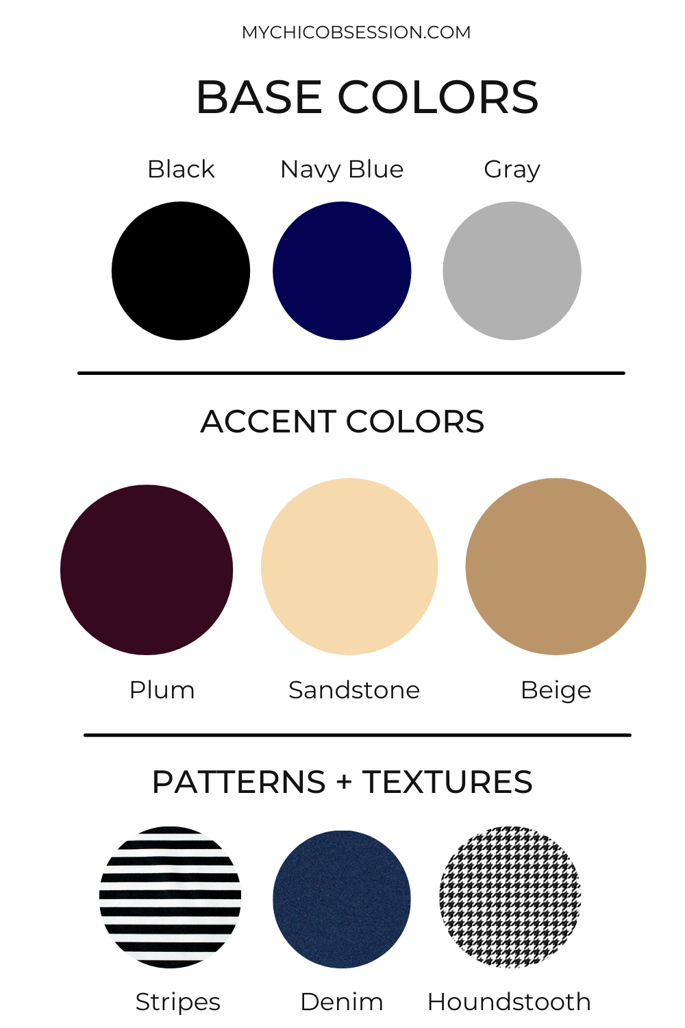 An example of a capsule wardrobe base color and accent colors