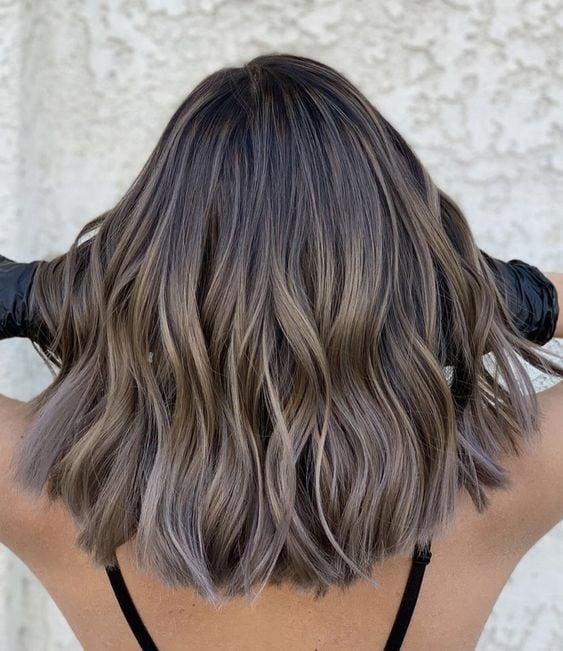 Ash brown short hair by Nikki LA