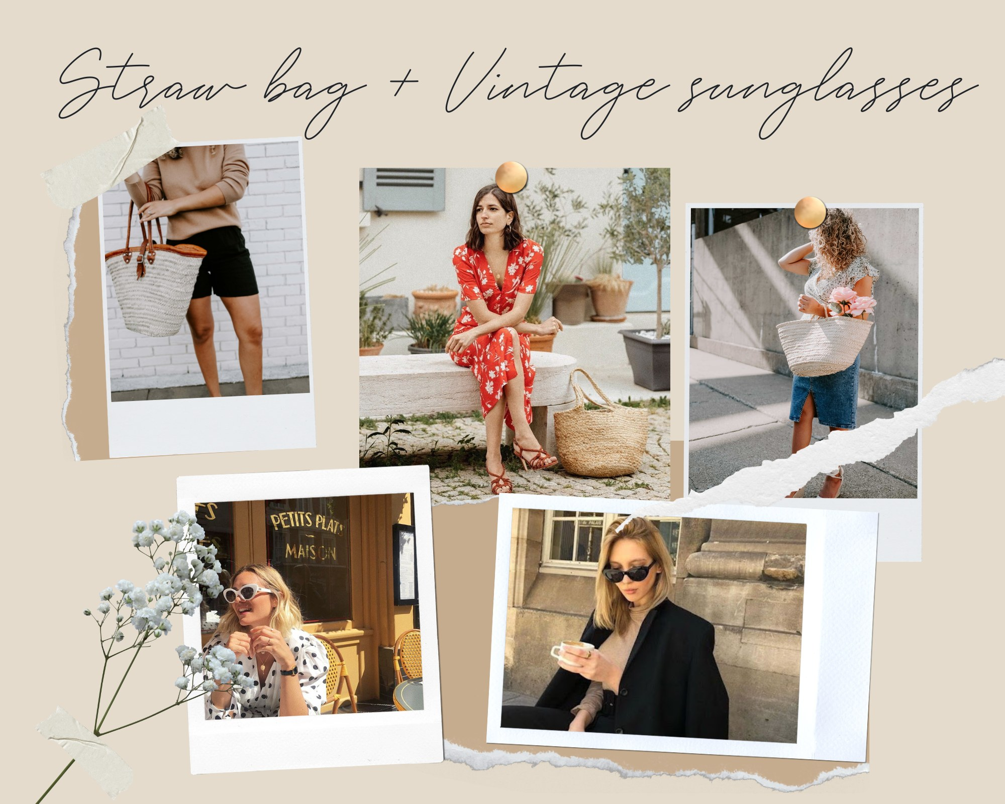 Straw bag + Vintage sunglasses