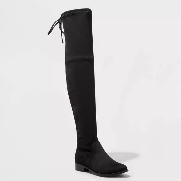 Women's Black over the knee boots with tie detail