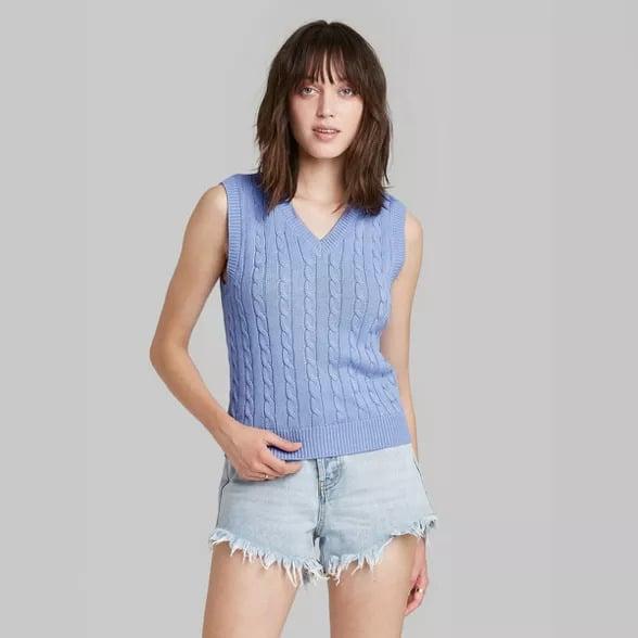 Women's light blue sweater vest