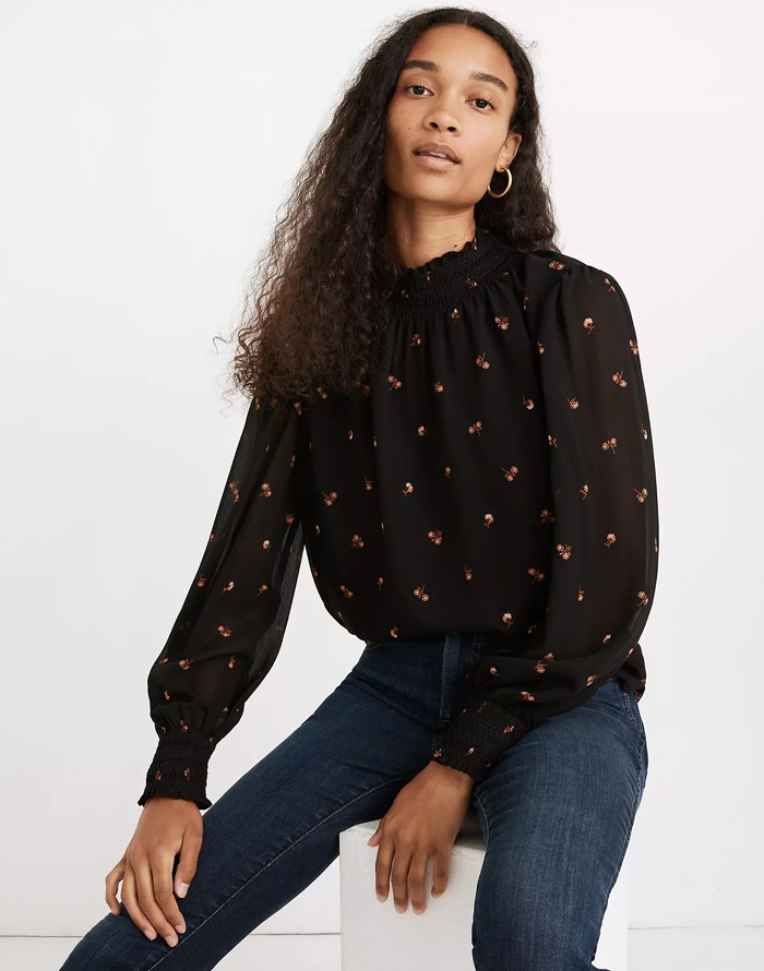 Madewell floral smocked top