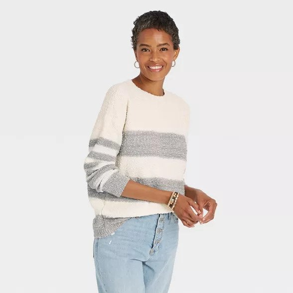 Women's white and light grey striped sweater