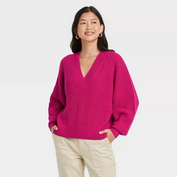 Women's hot pink V-neck pullover sweater