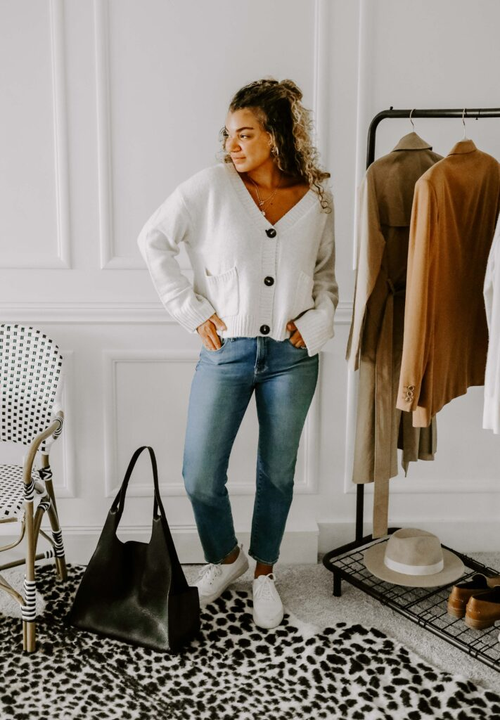 cropped sweater outfit idea